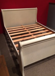 Painted sleigh bed